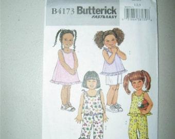 Butterick B4173 Pattern Girls Jumper Dress Sundress Top Capris Shorts 12681