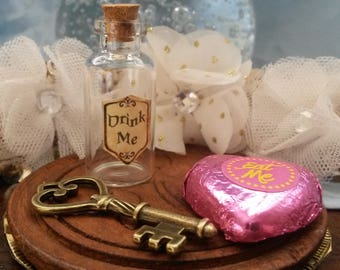 Drink Me Alice In Wonderland Inspired Glass Bottle with Eat Me Sweet & Key