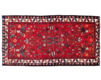 3.9' x 7.4' Azerbaijan Red Persian Rug, Wool hand knotted Oriental Antique and Vintage Rug, floor rugs with tribal weave and classic design