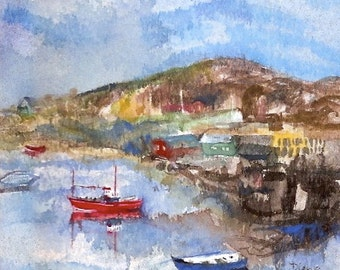 """Seaside painting, original watercolour gouache, """"Boats in the Harbour"""""""