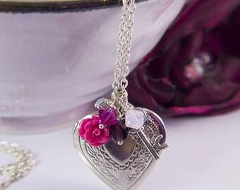 Silver heart locket necklace heart pendant swarovski key rose Valentine's gift anniversary gift for mom birthday silver locket photo locket