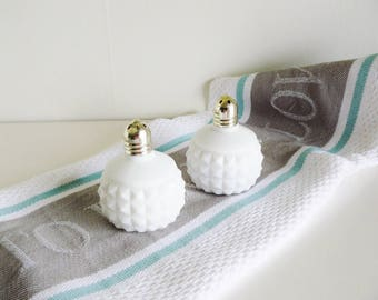 Vintage Salt and Pepper Shakers Milk Glass Hobnail Diamond Point White Home Decor