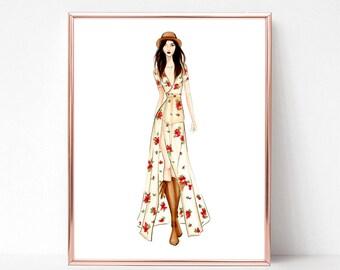 Music festival, boho chic, floral, fashion illustration print, art print, sketch, croquis,