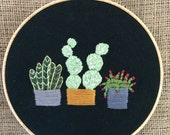 Embroidery  hoop, cactus, cacti, succulents, plants in pots, hand embroideried, embroidery hoop, wallart, homedecor, fiberart, desert