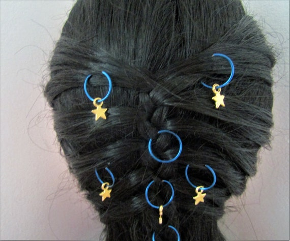 Stars Hair Rings in blue and gold, Trendy hair rings, Braid hair rings, Boho chic hair accessory, Trendy hair accessory, Hair jewelry, Pagan