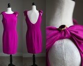 LARGE - 90s Lord & Taylor Fuchsia Low Back Party Dress With Bows