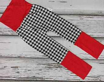 Pants scalable 6-36months houndstooth and red, black and white red black white