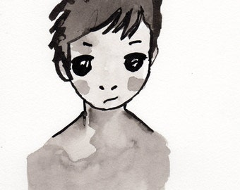Portrait in china ink, customizable gift, original drawing, handmade