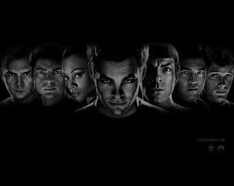Star Trek, Star Trek Art, Star Trek Print, Star Trek Poster, Star Trek Wall Art - Kirk - Spock - 8x10 - 11x14 - 16x20 (JS000638)