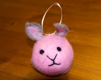 Easter bunny rabbit hand felted alpaca wool bauble