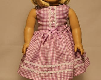 Purple and White Checkered Dress-Made to fit 18 inch Dolls like American Girl Doll Clothes