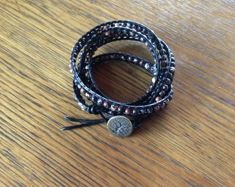 Jasper and leather wrap bracelet