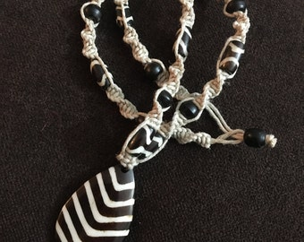 Bone and Horn Hemp Necklace