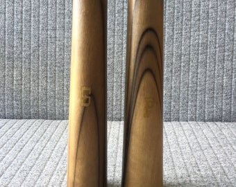 Mid Century Salt and Pepper Shakers Timber with Gold Leaf and Brass Detail