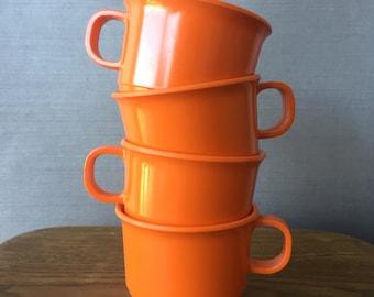 Set of 4 Imperial Ware Permaline Inc 1970s Orange Plastic Picnic Cups