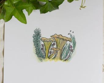 Happy Yellow Fungus - 8x11.