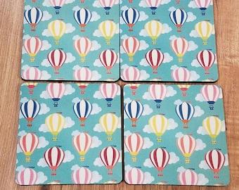 Hot Air Balloon Fabric Coaster Individual/Set