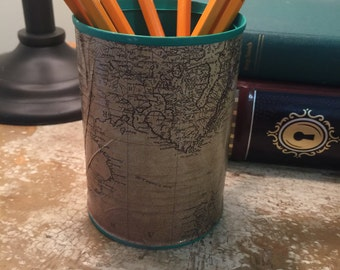 Vintage map upcycled pencil cup