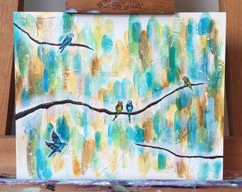 Budgies - Original Acrylic Artwork on MDF Board