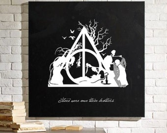 Harry Potter Deathly Hallows Inspired Canvas Print