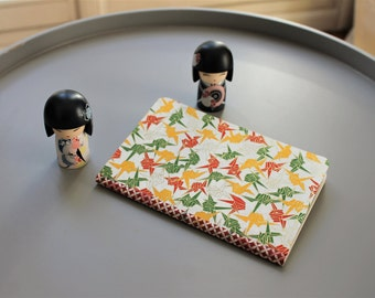 Notebook format A6 - paper Japanese washi orange cranes red green / travel diary