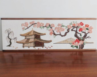 "ON SALE until May 15 postage included Vintage Gravel Art - ""Asian Scene"" Pagoda with Cherry Blossoms"