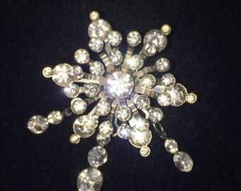 Beautiful Vintage Starburst Pendant Pin Rhinestone Pendant Pin #18