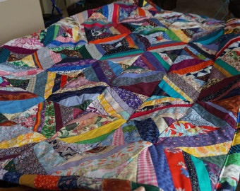 Handmade One of a Kind String Quilt 64  by 90 Handmade Quilt Hand tied Quilt Comforter String Quilt colorful Quilt multi-color Quilt