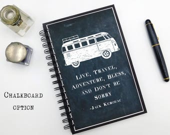 Travel Notebook, Jack Kerouac, Travel Journal, Adventure Journal, Chalkboard, Travel Diary, Hardcover, Spiral Notebook, Lined Notebook