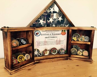 Medal - Coins- Certificate - Flag holder organizer display - Army, Air Force, Navy, Marine