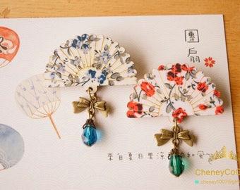 Japanese style brooch,Fan brooch,Wood Fan Jewelry,Wood Fan brooch,Wooden Floral Fan,Japanese brooch