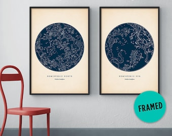 Star map set of 2, Framed art, Astronomy print, Constellation art, Star map print, Celestial map, Northern constellations, Framed print set