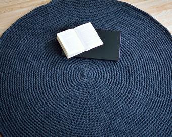Handmade round crochet rug 120cm (4')/charcoal/floor mat/kids mat/nuresry rug