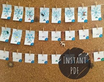 Printable Advent Calendar - DIY Advent Calendar - Christmas Countdown - Snowflake Design
