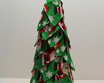 Beautiful green santa with red light bulb ornament handmade Christmas tree