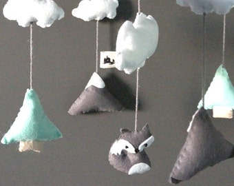 Woodland Snowing Mountain Baby Mobile - Baby Crib, Fox, Mint Grey, Room Decoration, Nursery Decoration, Hanging Mobile, Handmade, Baby Gifts