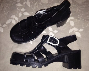 Original JUJU Vintage 80s 90s Goth Grunge Platform Block Heels T Strappy Jelly Sandals Shoes