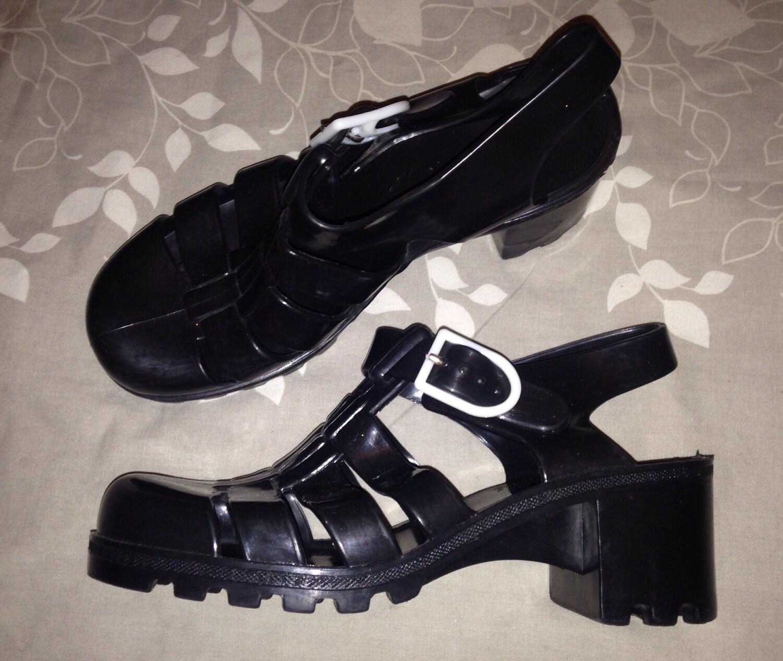 Black sandals grunge - Original Juju Vintage 80s 90s Goth Grunge Platform Block Heels T Strappy Jelly Sandals Shoes