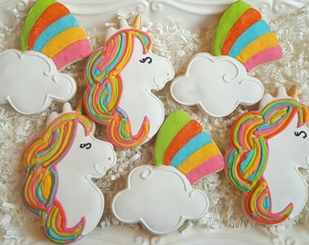 Colorful Unicorn and Rainbow Cookies Party Favors