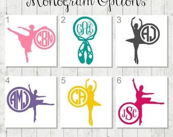 Ballerina Monogram, Dancer Monogram, Dance Decal, Ballet Decal, Gift for Ballerina, Ballet Slipper Decal, Dance Instructor Gift, Dance Gifts
