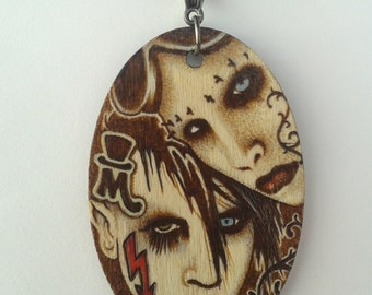 Marilyn Manson Woodburned Double Portrait Collage of The Beautiful People Golden Age of Grotesque and Smells Like Children Necklsce