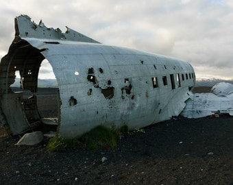 Iceland Landscape Photography, Rustic Plane Crash, Solheimasandur Plane Wreck, Iceland Black Beach, Historical Place, Fine Art Photography
