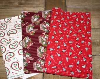Christmas fabric trees, baskets, paisleys