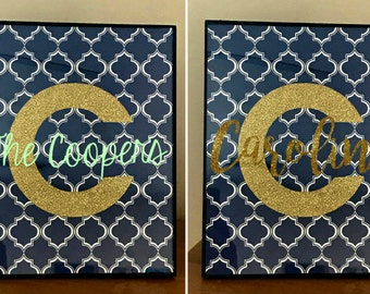 CUSTOM Personalized initial Picture and Frame, Initial and frame, bedroom decor, desk decor, office decor