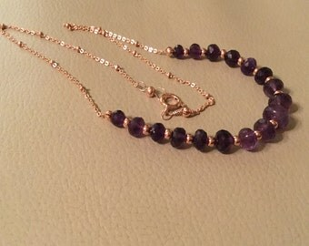 Amethyst and Rose gold necklace