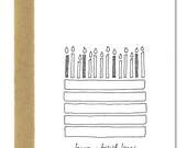 Birthday Cake - A1 Card (Single or Set of 5)
