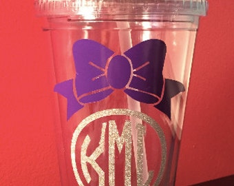 Monogrammed Bow Tumblers