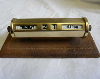 Vintage Brass Perpetual Brass Calendar on Wooden & Leather Stand - Free UK Shipping