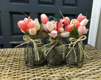 Spring Tulip Arrangement in Rustic Basket - Tulips in Mason Jar - Spring Arrangement - Easter Centerpiece Arrangement - Rustic Wedding Decor