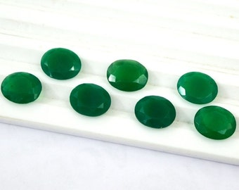 Lot of 10 pcs. AAA natural green onyx oval cut faceted loose gemstone with free shipping